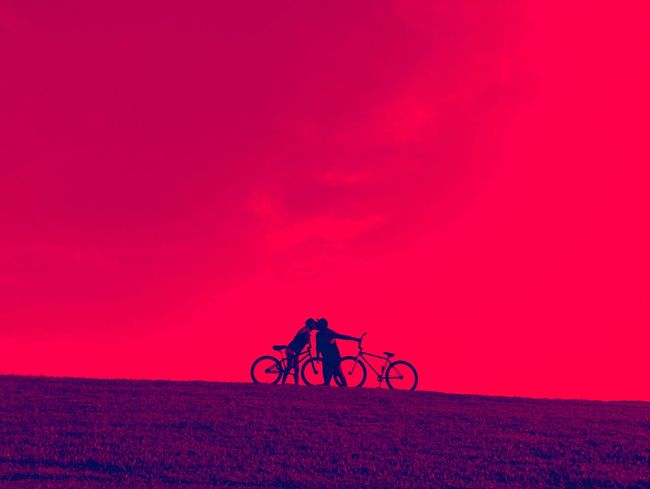 More than words Bicycle Transportation Mode Of Transportation Land Vehicle Sky Stationary Pink Color Cycling People Silhouette Sunset Ride Nature Copy Space Purple Outdoors Leisure Activity Lifestyles Riding Real People