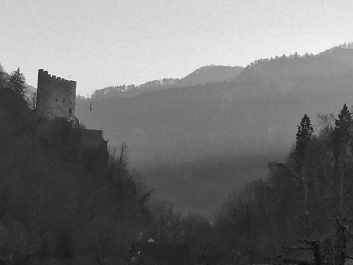 watching over the mountain pass Bw Castle Guard Mountain Pass Pass Ruin Switzerland Valley