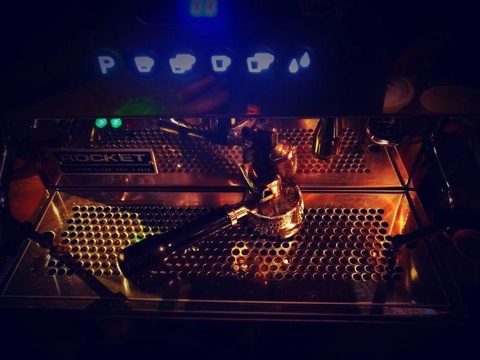Espresso Machine Coffee Latteart Nightlife Music Illuminated Close-up First Eyeem Photo
