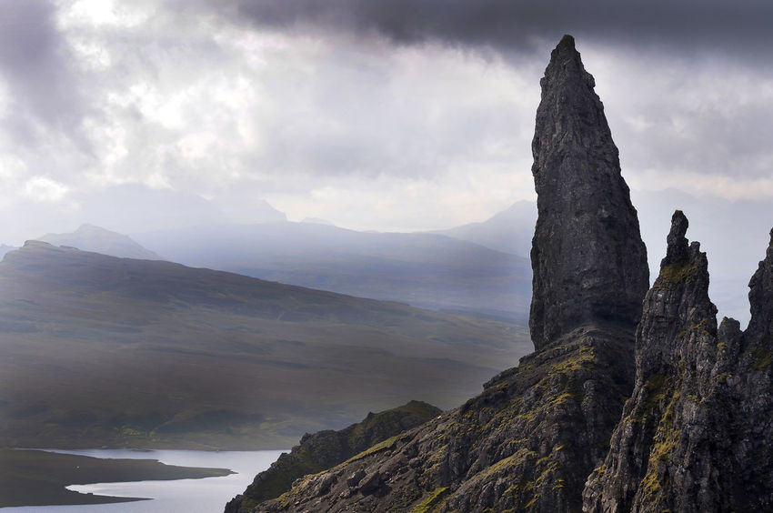 Old man of Storr, located on the Isle of Skye Beauty In Nature Cloud Cloud - Sky Cloudy Highlands Landscape Majestic Mountain Mountain Range Nature Non-urban Scene Old Man Of Storr Outdoors Physical Geography Remote Rock Rock - Object Rock Formation Scenics Scotland Sky Skye Tranquil Scene Tranquility