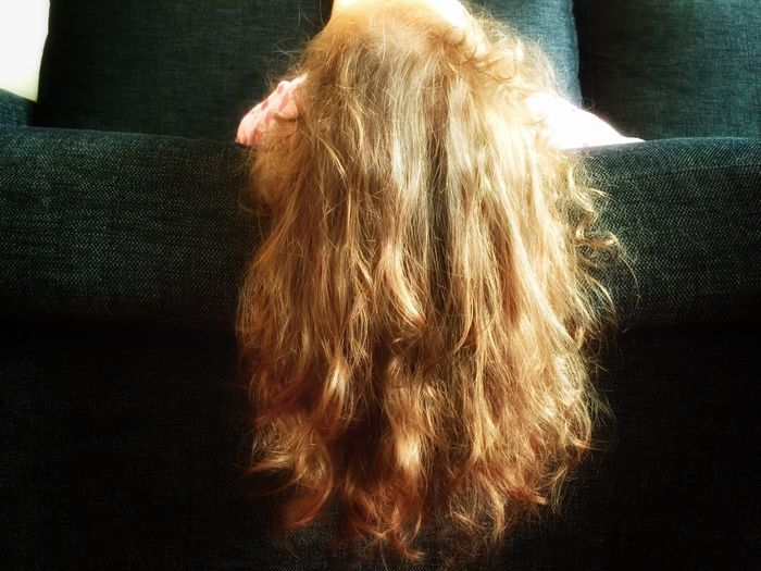Long Hair Rear View One Person Real People Indoors  Casual Clothing Close-up Children Photography Upside Down Babygirl Blond People