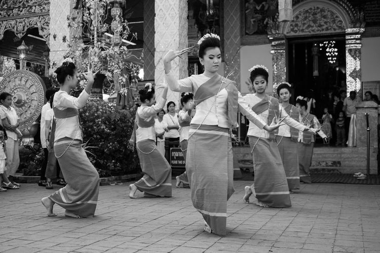 Bw Casual Clothing City Life Cultures Dance Front View Full Length Historic Holding Lamphun Leisure Activity Lifestyles North Thailand Occupation Perspective Real People Sitting Standing Thai Woman Thailand Thailandculture Three Quarter Length Togetherness Women Young Adult
