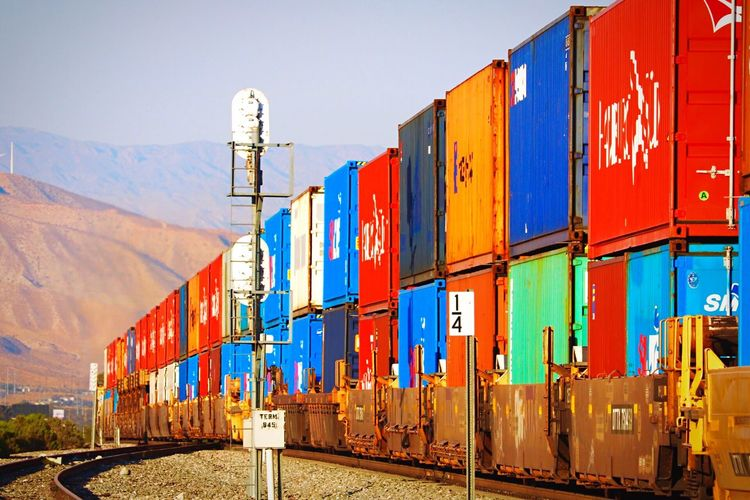 Cargo Container Sky Freight Transportation Architecture Container Clear Sky No People Multi Colored Nature Train Transportation
