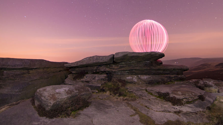 Ball Light Long Exposure Sunset Blue Sky Pink Sky Light Painting Long Exposure Night Sky Peak District  Over Owler Tor Light Soft Beautiful Golden Hour Pastel Fine Art Photography Artistic Photography Surreal Surrealist Art Light Trails Light And Shadow Peak District Northern England Uk