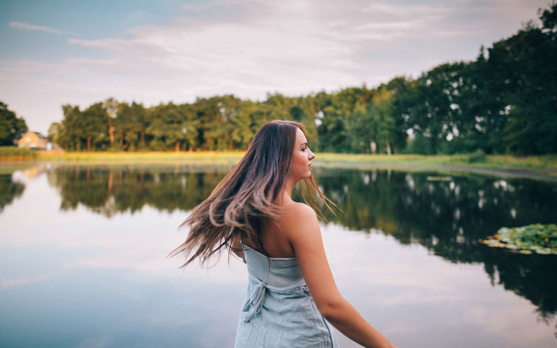 shot on the water Adult Beautiful Woman Beauty Casual Clothing Contemplation Fashion Girl Hair Hairstyle Lake Long Hair Looking Nature One Person Outdoors Reflection Sea Shooting Sky Standing Three Quarter Length Water Women Young Adult Young Women