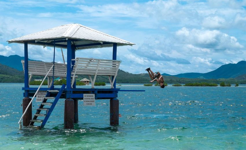 Summer in Puerto Princesa Blue Cloud - Sky Outdoors Scenics Sea Sky The Essence Of Summer Water Found On The Roll Puerto Princesa City Palawan Philippines Philippines Eyeem Philippines Jump Dive Somersault  Swimming Beach Jumping On The Beach People Of The Oceans