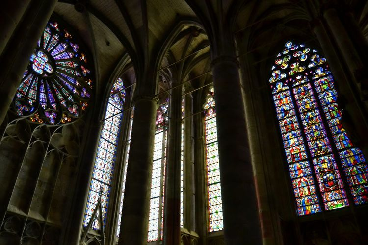 Architecture Cathedral Cathedrale Ceiling Indoors  Low Angle View Place Of Worship Religion Spirituality Stained Glass Stained Glass Window Window