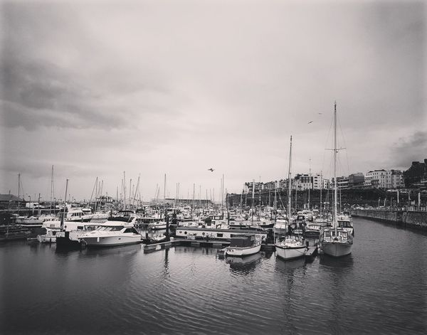 Boats Nautical Vessel Moored Harbor Mode Of Transport Marina Reflection Transportation Commercial Dock Travel Destinations Yacht Sailboat Outdoors Mast Day Water Cloud - Sky Sky Architecture Black-and-white Photography