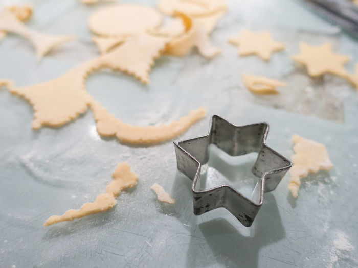 Christmas Close-up Cookie Day Dough Food Food And Drink Freshness High Angle View Home Baking Indoors  Kitchen Worktop No People Pastry Pastry Cutter Shape Sky Star Shape Sweet Food Table
