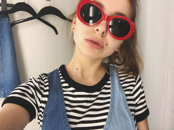 Kurtii Sunglasses Striped Front View Young Adult Young Women Casual Clothing One Person
