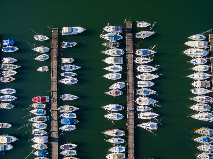 High angle view of sailboats moored in water