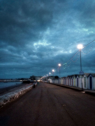 Architecture Beach Beach Huts Beauty In Nature City Cloud - Sky Day Harbor Illuminated Moody Lights Nature No People Outdoors Preston Torbay Road Sea Sky Storm Cloud Transportation Travel Destinations Water