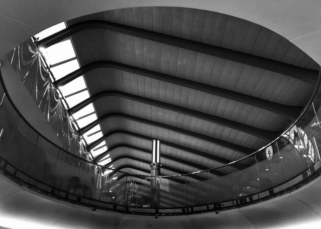 Blackandwhite Black And White Photography Monochrome Photography Architecture Modern Architecture Low Angle View Eye Eye4photography  Rail Station Roof Lines And Shapes Oval Built Structure Indoors  Day Windows Depth Of Field Surrealism Parallel Lines Light Post Reflection NormanFoster Interior Design Urban Geometry Framed Minimalist Architecture