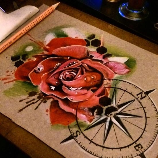 Rose drawing... Tattooartist  Torstenmatthes Drawing Freehand Check This Out Mrttattoo Tattoo Fullcustomtattoo Roses Compass