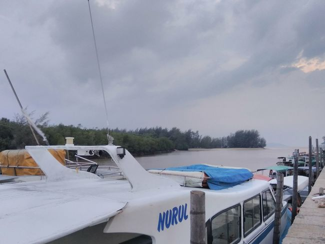 take me on a boat ⛵ lane river cruise to the seashore~~ Jetty Solorider Rider Breeze Lonely Scenery Setiu Merang Terengganu Business Finance And Industry Sky Nautical Vessel Weather Mast Moored Boat Foggy Harbor Port