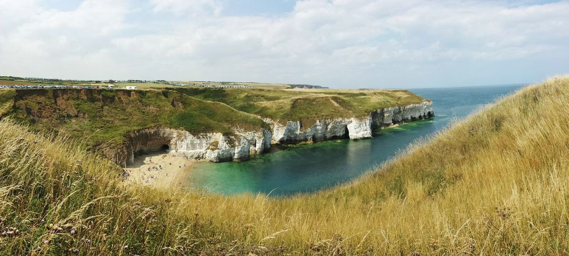 Idyllic White Cliffs and Turquoise Sea at Flamborough, UK. Water Nature Beach Sea Tranquility Outdoors Landscape Tranquil Scene Beauty In Nature Horizon Over Water England, UK White Cliffs  Vacations Holidays Sand