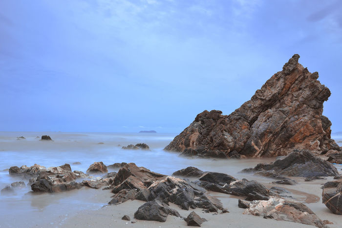 morning dusk in seascape Beach Beauty In Nature Day Geology Horizon Over Water Morning Nature No People Outdoors Roack Formations Rock - Object Rock Formation Scenics Sea Seascape Session Sky Slow Shutter Tranquil Scene Water