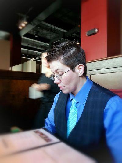 Gender Genderfluid Gender Identity Queer Queer Women My Wife Lesbian Handsome Woman Lgbt Gay Date Night Anniversary Dinner Restaurant Shirt And Tie Dressed Up Shorthair Eye Glasses Cute I Love Her <3 Well-dressed Men Businessman Eyeglasses