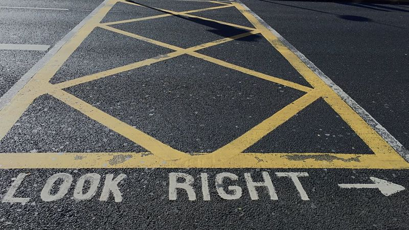 Look right Road Marking Yellow Guidance Direction Road