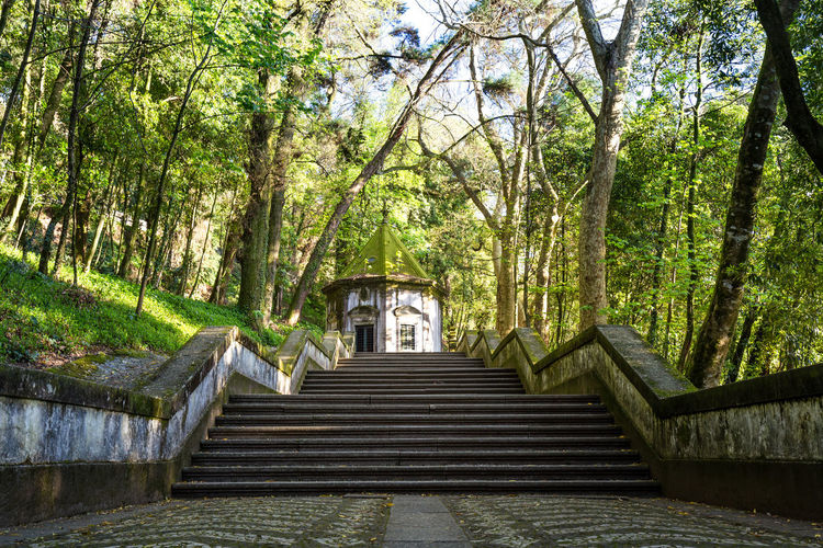 Staircase leading towards temple against sky