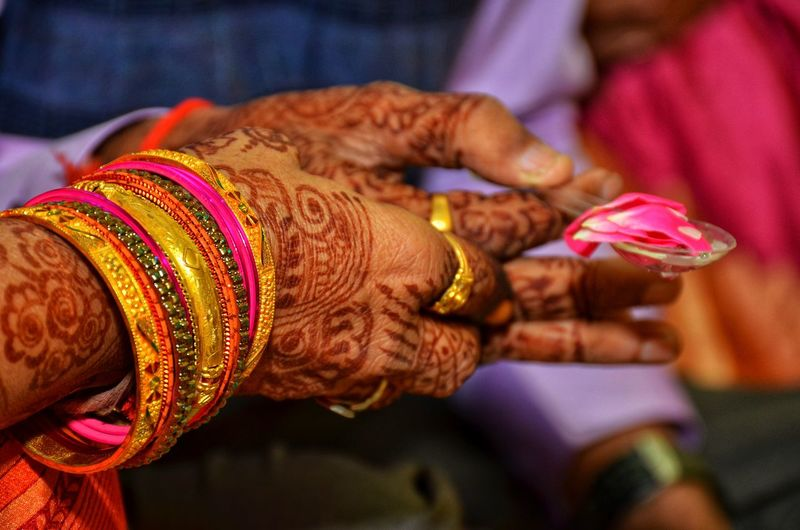 Wedding Photography Wedding Photography Indian Wedding Indian Pooja Human Hand Bangle Bride Women Cultures Multi Colored Traditional Clothing Religion Close-up Henna Tattoo Wedding Ceremony Indian Culture  Wedding Guest Wedding Dress Newlywed Wedding Ring Bridegroom Wedding Vows Traditional Culture Wedding Traditional Dancing Traditional Ceremony Ceremony Weaving Groom Sari