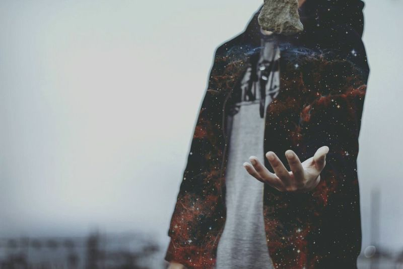 dream Human Hand One Person Galaxy Rock