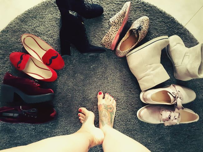 Human Foot Low Section Barefoot Human Leg Nail Polish Indoors  Human Body Part Shoes Shoes Off Shoeselfie High Angle View One Person Only Women Adults Only Adult One Woman Only People Sandal Women Pedicure Day Close-up Colour Of Life Red Grey