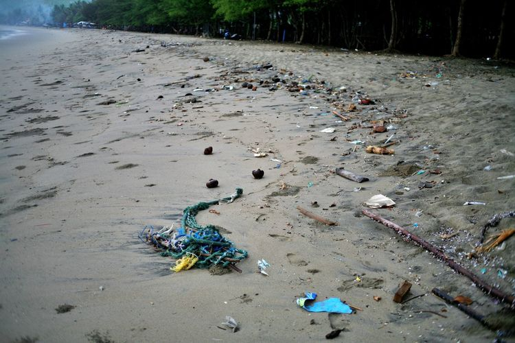 High angle view of garbage on beach