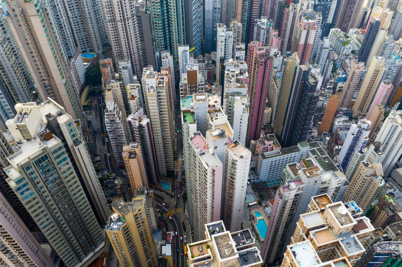 Top view of Hong Kong city Hong Kong Top View City Tall Skyscraper Urban Downtown Building Business Aerial Fly Drone  Over Above Down Top Down Bird Eye Hk Hong Kong Residential  Architecture Central Compact Skyline New Cityscape High Landmark Infrastructure ASIA Town China Financial Perspective Public House Apartment