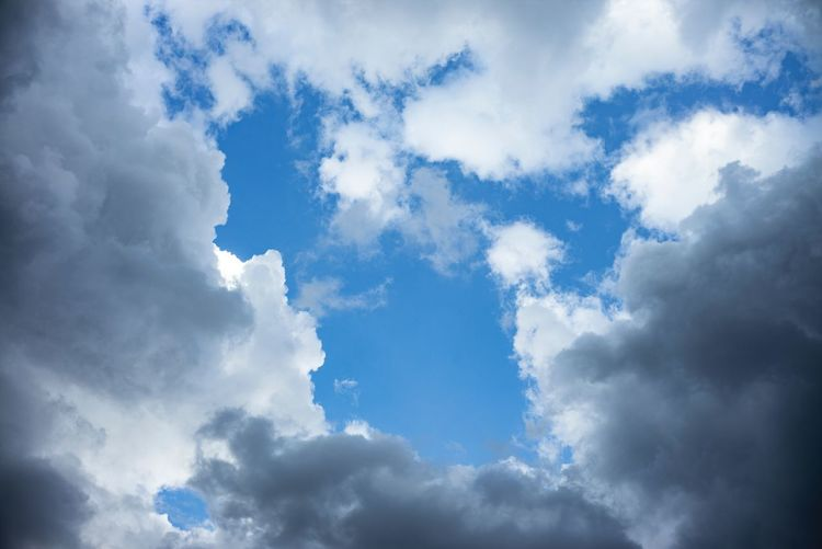 Blue sky background with clouds Cloud - Sky Sky Low Angle View Beauty In Nature Scenics - Nature Nature Tranquility Cloudscape No People Day White Color Backgrounds Outdoors Meteorology Blue Environment Idyllic Full Frame Softness Tranquil Scene