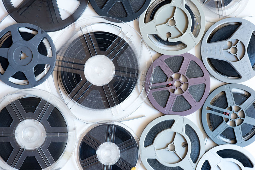 Super 8 movie reels on white background Background Film Filmstrips Group Of Objects Many MOVIE Reel Roll Super 8 Vintage