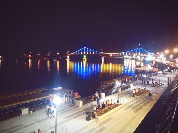Kyiv Kyiv, Ukraine River The Dnipro Bridge Night Evening Light People City Water