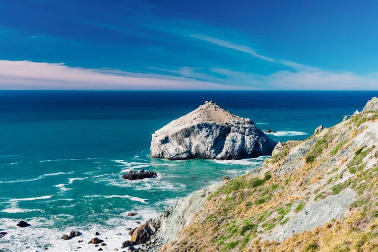 Sea Water Sky Scenics - Nature Beauty In Nature Blue Rock Tranquil Scene Horizon Horizon Over Water Rock - Object Tranquility Solid Land Nature Cloud - Sky Idyllic Beach Rock Formation No People Outdoors Turquoise Colored Stack Rock Rocky Coastline