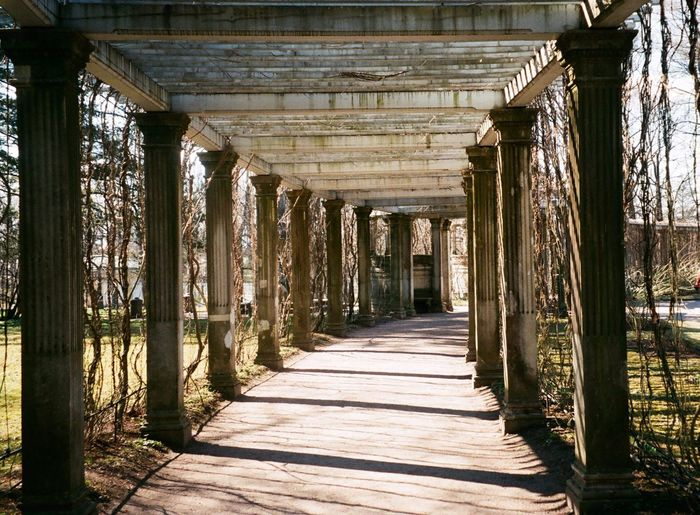 View of abandoned colonnade