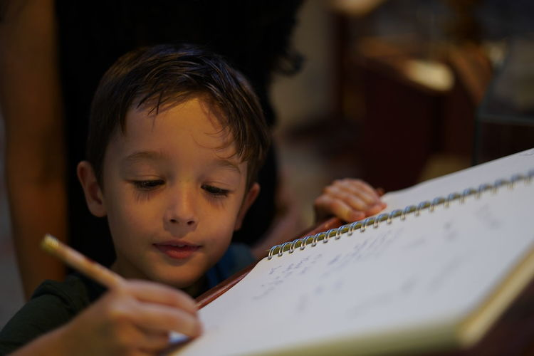 Cute boy writing on book at home