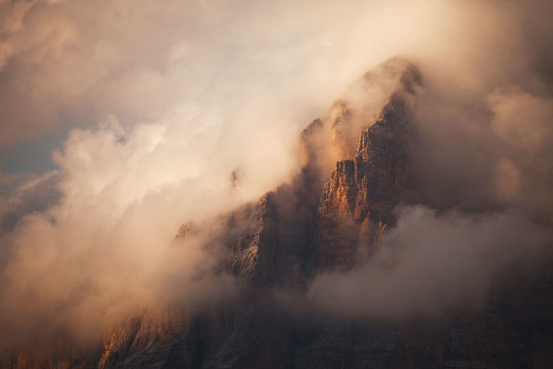 Incredible landscapes from Dolomite Mountains, Italy. Atmosphere Beautiful Cloudy Dolomites Nature Rocky Alps Clouds Dolomiti Europe Fog Foggy Italy Landscape Mountain Outdoors Peak Photography Red Light Sunrise Sunset Tranquility Travel Destinations Fresh On Market 2017