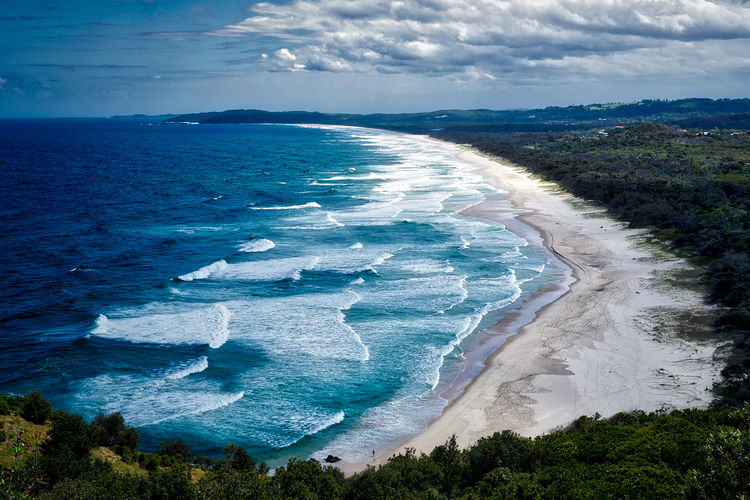 Beach, Byron Bay, Australia Travel Travel Photography Beach Beauty In Nature High Angle View Landscape Nature No People Outdoors Power In Nature Scenics Sea Sky Travel Destinations Water Wave