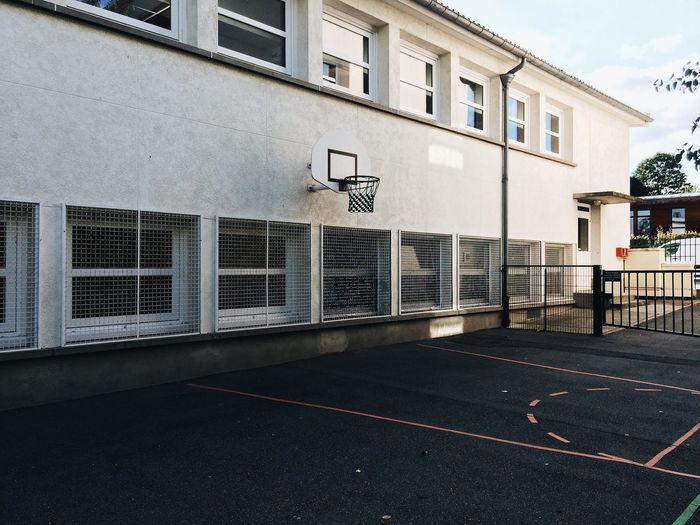 Basketball Hoop Mounted On Building
