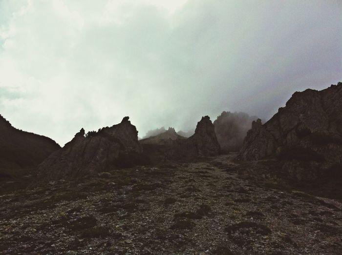Mountains Peaks Hiking Foggy