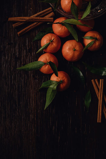 High angle view of orange fruit on table