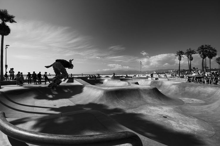 Catching Air Skate Photography: Same Tricks, New Perspectives Sport Real People Skateboard Park Sports Ramp Skill  Outdoors Motion Day Beach Blackandwhite Black And White Silhouette California