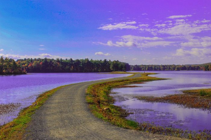 This place does not feel real Tranquil Scene The Way Forward Tranquility Landscape Tree Water Long Blue Scenics Sky Countryside Calm River Nature Non-urban Scene Beauty In Nature Day Cloud Curve Narrow Landscape_Collection Landscape_photography October New England
