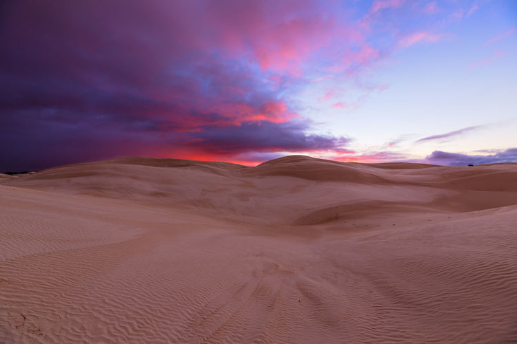 Scenics - Nature Sand Sky Landscape Sand Dune Desert Tranquility Climate Land Arid Climate Environment Cloud - Sky Beauty In Nature Tranquil Scene Non-urban Scene Nature Remote No People Outdoors Atmospheric Sunrise Dawn Colorful Australia Travel Destinations Travel Morning Light Idyllic