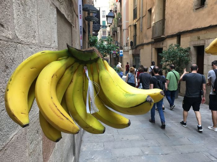 Barcelona Architecture City Building Exterior Built Structure Yellow Real People Banana Fruit Street Food And Drink