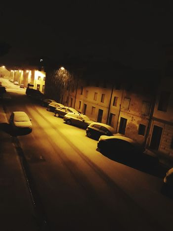 Night Architecture Illuminated Built Structure No People Building Exterior Outdoors City Cars Snowing Parking Area Street