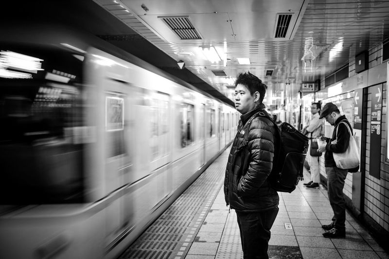 Waiting Subway Train People One Person Indoors Speed Streetphotography Long Exposure Slow Shutter Blackandwhite Waiting For A Train Portrait Travel Photography Japan Japan Subway Jr Japan Railway