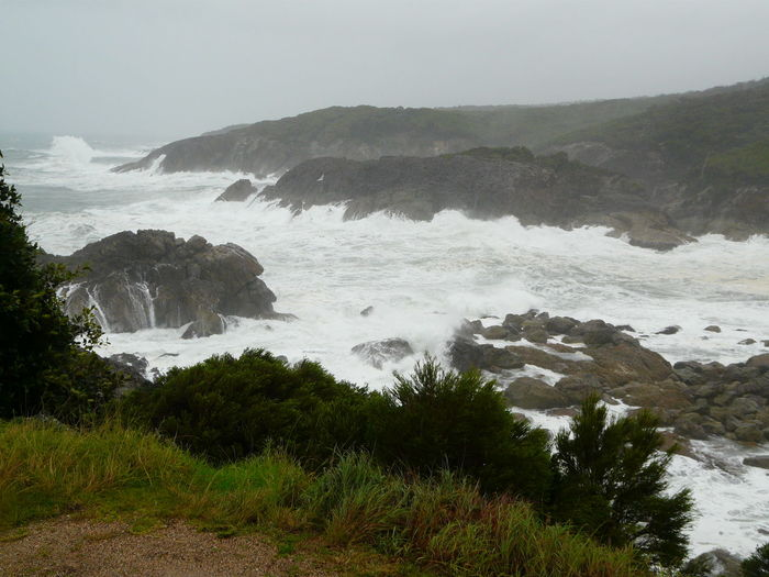 Australian Landscape Bad Weather Beauty In Nature Big Waves Chamberlain Lookout Coastline Dangerous Seas Day Idyllic Mountain Nature No People Outdoors Remote Rock - Object Rock Formation Scenics Sky Storms Stormy Weather Tathra Tranquil Scene Tranquility Water Wave