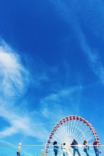 Low Angle View Of Ferris Wheel By Navy Pier Against Sky