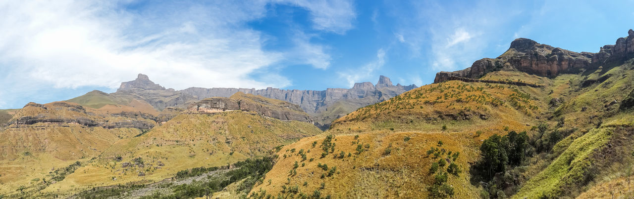 Drakensberg, South Africa Beauty In Nature Cliff Day Drakensberg Landscape Mountain Mountain Range Nature No People Outdoors Panoramic Rock - Object Rock Face Rock Formation Scenics Sky
