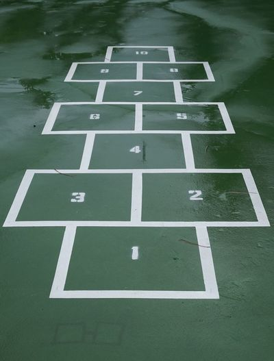 High angle view of wet hopscotch at playground